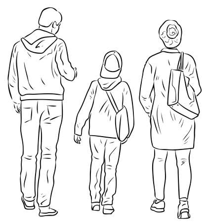 Contour drawing of family citizens walking outdoors together Vettoriali