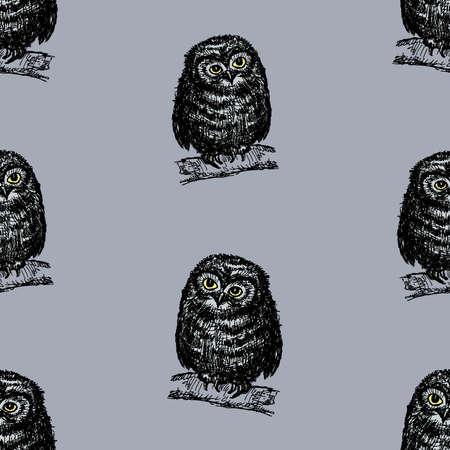 Seamless background of an owlets sitting on tree branches Illusztráció