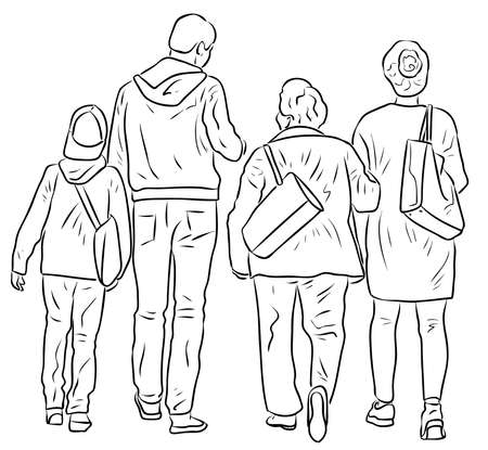 Outline drawing of family casual citizens walking outdoors together