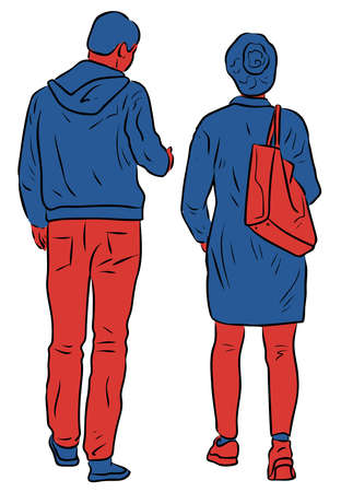 Vector drawing of couple citizens walking outdoors together