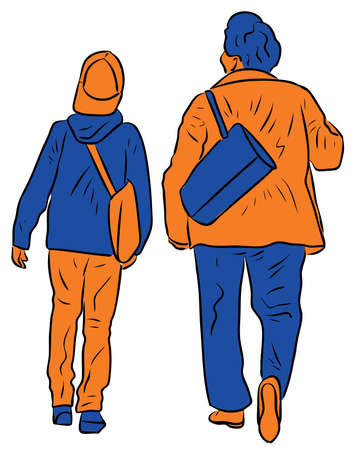 Vector image of elderly woman with her grandson walking together along street and talking