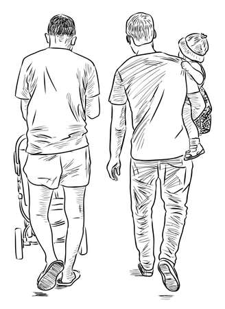 Sketch of young men with their kids strolling on summer day together 일러스트