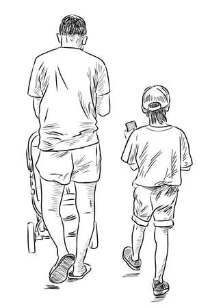 Sketch of young father strolling with his children