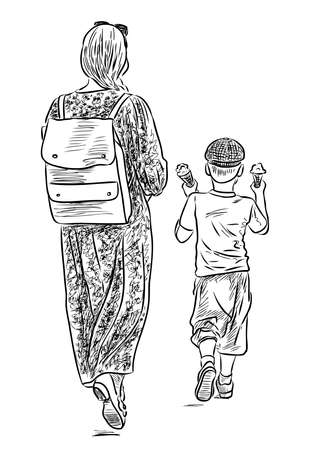Sketch of young mother with her little son strolling on summer day together