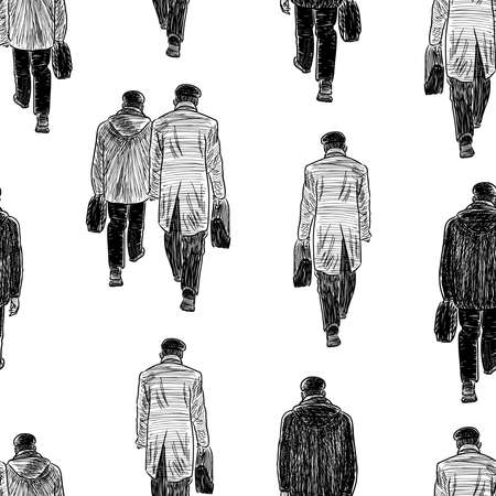 Seamless background of sketches crowd casual townsmen walking down street Vector Illustration