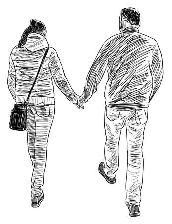 Sketch of couple casual young citizens walking along street 矢量图像
