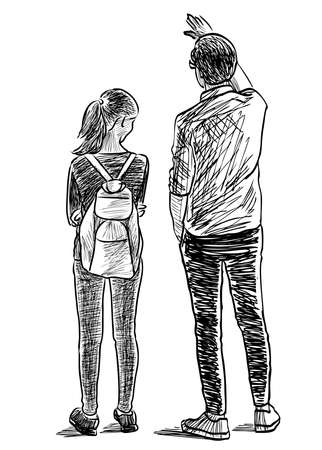 Sketch of father with his teen daughter talk on a stroll