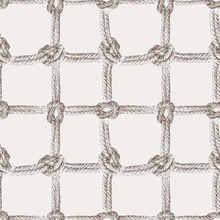 Seamless background of sketches rigging rope with sea knots
