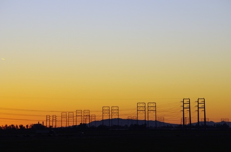 power lines: Power lines silhouette in front of Channel Islands, CA Stock Photo