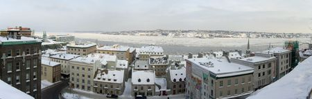A panorama of Quebec City and the St. Lawrence River in winter photo