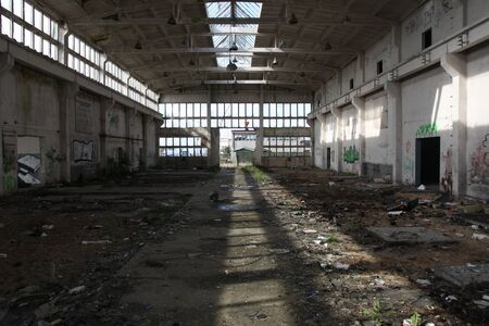 disused: abandoned industrial hall