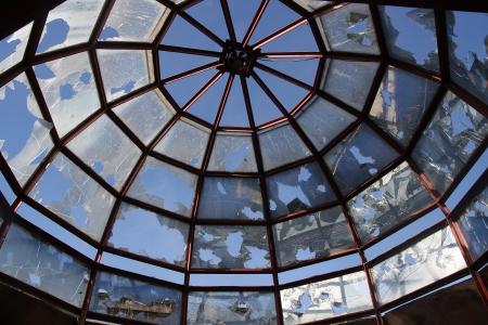skylight: broken skylight  Stock Photo