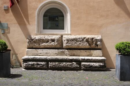 Marble bench in Rome photo