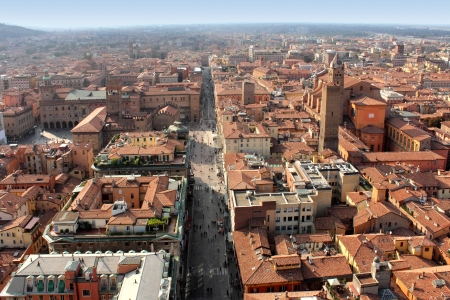 Panoramic view of Bologna city, Italy  Stock Photo
