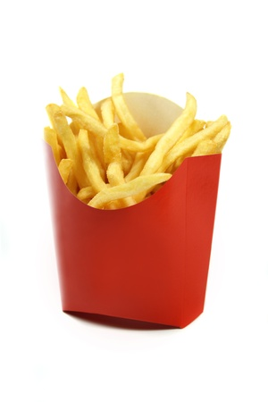 french fries in a red paper wrapper isolated on white background