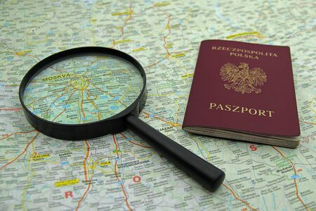 passport and magnifier on map of Moscow, Russi