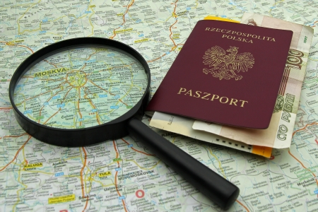 planning travel to Russia, passport, airplane ticket and rubles