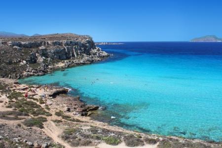 beautiful beach Cala Rossa Favignana, Sicily, Italy photo