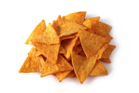 nachos stack isolated on white background