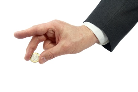 business hand holding one euro Stock Photo - 18317029