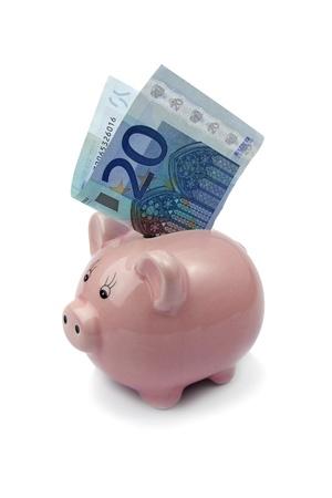banque cochon avec ? 20 isolé sur fond blanc Banque d'images