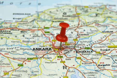push pin pointing at Ankara, Turkey