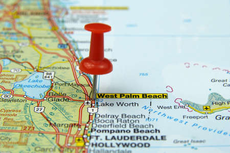 push pin pointing at West Palm Beach, USA