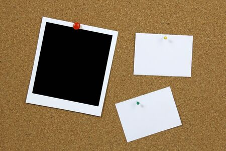 cork board with blank photo frame and notes  Stock Photo - 19758437