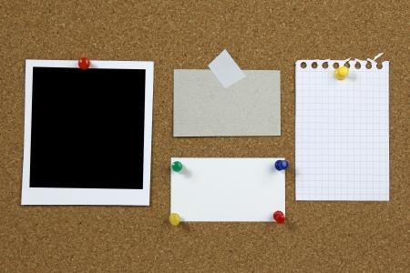 liège Panneau avec cadre photo vide et notes