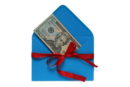 dollars in blue envelope tied with red ribbon  money gift  photo