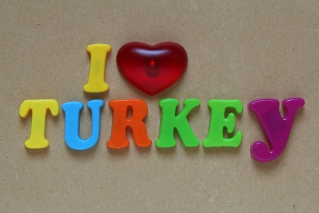 i love turkey spelled out using colored magnets  photo