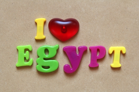 i love egypt spelled out using colored magnets  photo