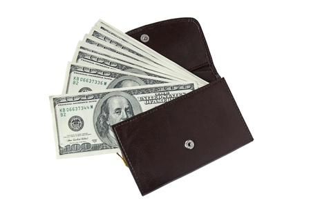 leather wallet with one hundred dollar bills isolated on white