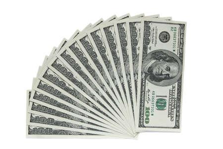 dolar: billetes de un centenar de dólares en el fondo blanco