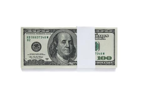 dolar: lleno de cien billetes de dólar aislados sobre fondo blanco
