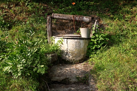old water well  rural scenery  photo