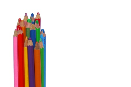colorful pencils isolated on white with copyspace photo