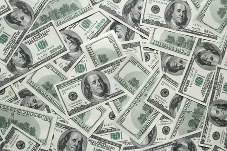 stack of dollar bill: one hundred dollars background