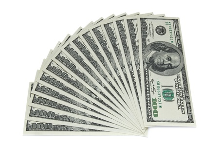 one hundred dollar banknotes on white background photo