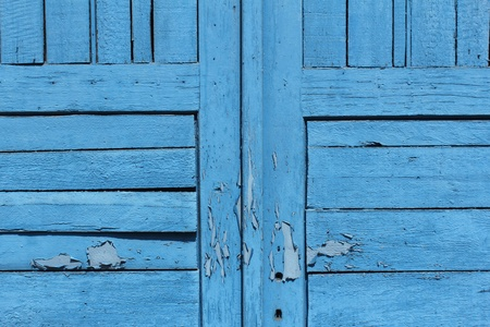 closeup of old blue wooden door photo