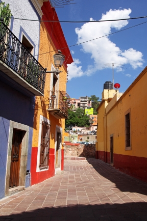Beautiful colorful colonial architecture of Guanajuato in\ Mexico