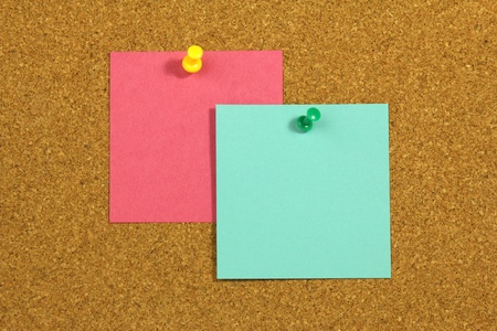 Tytuł  Two colorful blank cards on cork board photo