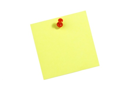 push: Yellow blank card with push pin on white background
