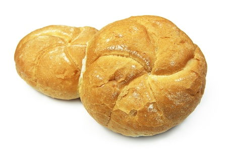 two rolls bread isolated on white background