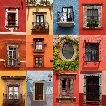collage of colorful mexican windows  Stock Photo
