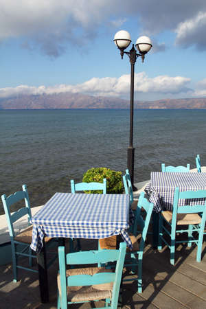 Beautiful restaurant near the sea in Crete, Greece photo