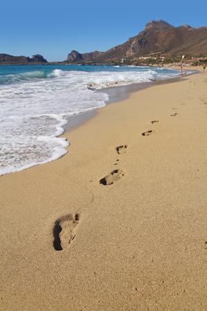 Footprints on the beautiful Falasarna Beach, Crete