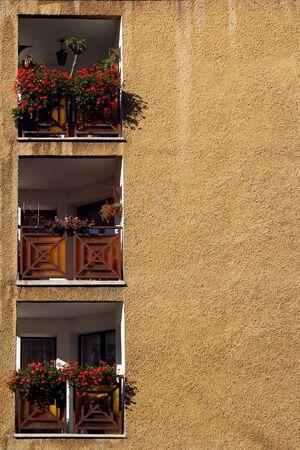 Three balcony with flowerpots on yellow wall photo