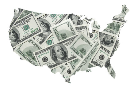 USA map with one hundred dollars background