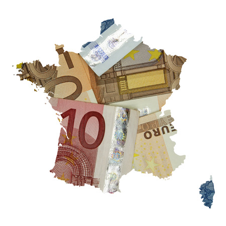 Map of France with euro banknotes background photo